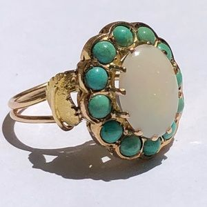 Jewelry - Gorgeous 14K yellow Gold White Opal & Turquoise 💍